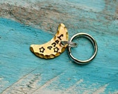 """Small Pet Tag, Cat Tag, Pet Tag, Pet ID Tags, Hand Stamped, Personalized, Collar Tag, Pet Accessories """"Golden Moon"""", Collar ID, moon, space"""