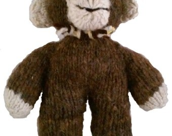 Hand Knit All Natural Wool Chubby Monkey: Child Safe, Eco Friendly, Durable, Washable, Non Allergenic Filling.