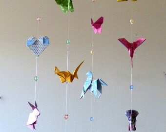 Mobile baby Origami animals - rabbit, elephant, crane, Dove, butterfly, horse, heart