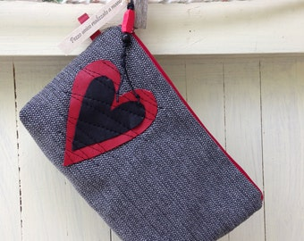 Clutch bag with red heart and black