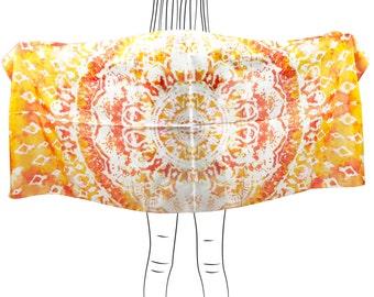 Mandala scarf / Womens scarf / Summer scarf / Beach sarong / Silk scarf / Shawl / Summer wedding / Gift women / Graduation gift