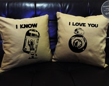 SALE !! I love you I know, Star Wars Pillow Cover Set,BB-8 pillow cover,R2D2 , Mr and Mrs,Wedding gift, Family pillow cover set