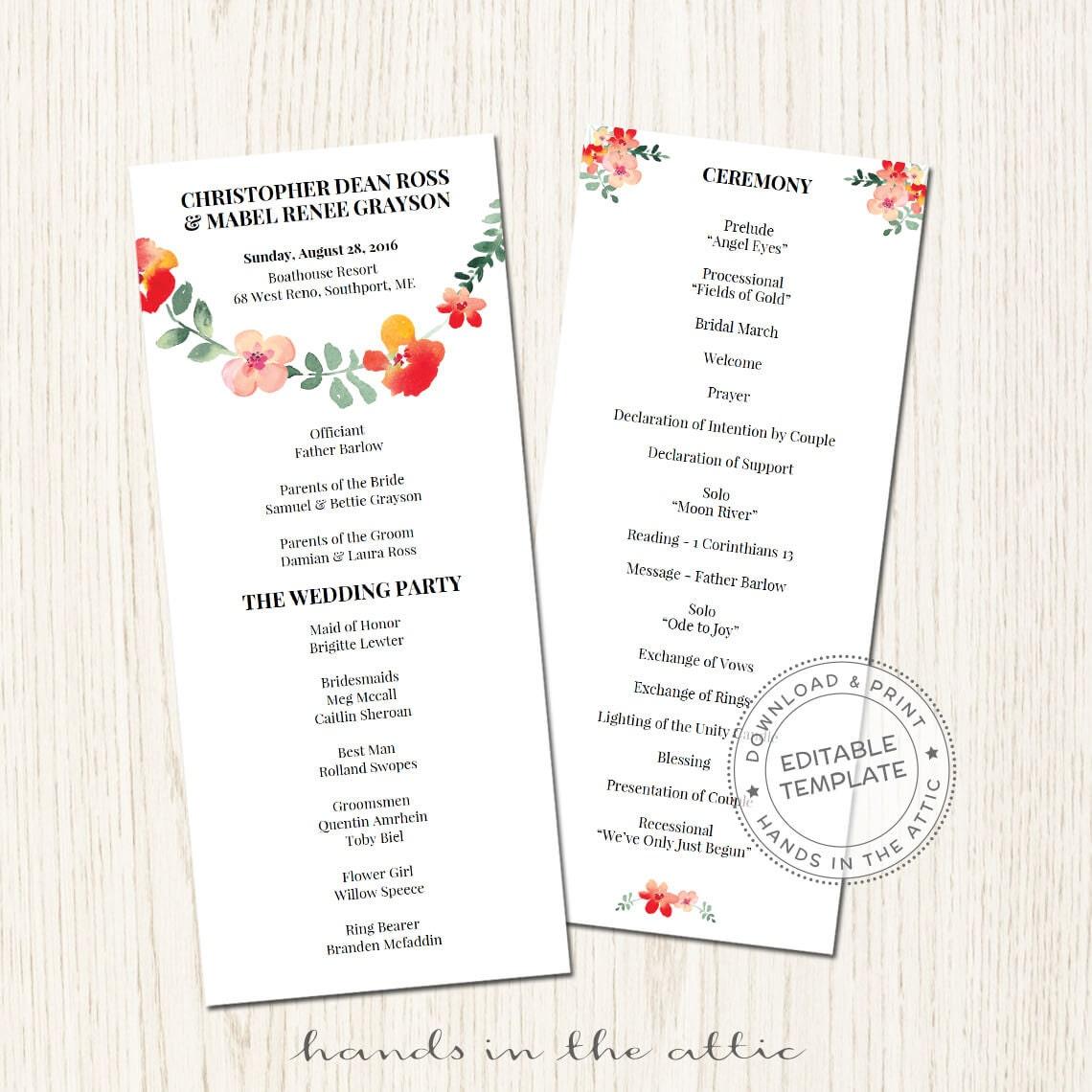 floral wedding program template download wedding ceremony. Black Bedroom Furniture Sets. Home Design Ideas