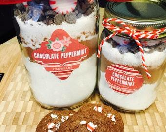 Chocolate Peppermint Mason Jar Cookie Mix