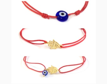 Red String bracelet Evil Eye Bracelet Hamsa Bracelet Evil Eye Hamsa Bracelet Protection Charm Couples Bracelet Protection Amulet Good Luck