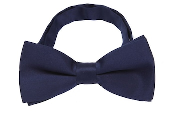 Dark Blue Bow Ties.Wedding Bow Ties.Blue Silk Bowties.Mens Bow Ties.Pretied Bow Ties with Adjustable Strap