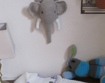 Crochet  elephant head, trophy style stuffed wall hanging
