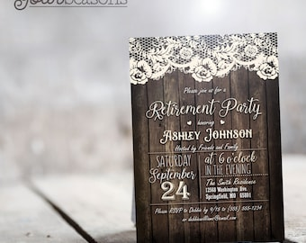 Rustic Country Retirement Party Invitation - Personalized Printable DIGITAL FILE