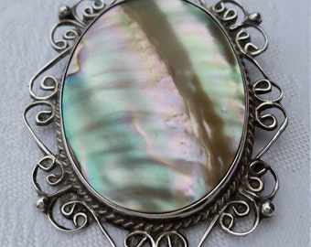 Vintage 1940s sterling and abalone filigree Mexican pendant/brooch