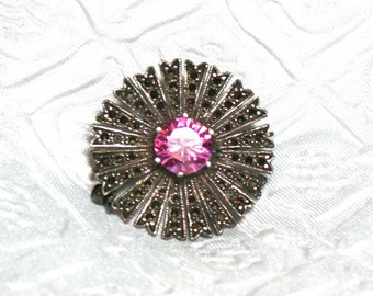 Vintage Marcasite Sterling Pin, Pink and Silver Marcasite Brooch, Pink Glass and Marcasite Flower pin, Sunburst Marcasite pin