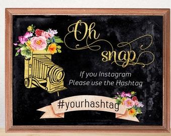 Oh Snap Instagram sign Instagram wedding sign Personalized wedding sign Instagram Hashtag Sign Wedding decor download Horizontal Chalkboard