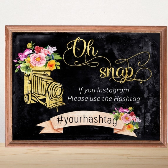 Oh snap instagram sign instagram wedding sign personalized for Decor hashtags