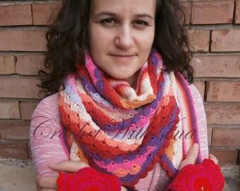 READY TO SHIP/Warm and colorfull shawl/Comfortable triangular shawl/Colorfull scarf/Bright Shawl/Handmade cotton shawl