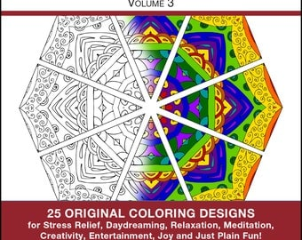 Art Therapy Coloring Book - PRINTED BOOK - Coloring Book - Volume 3 - 25 Original Coloring Pages