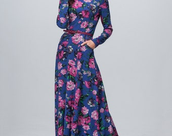 Knitted  dress Long floral dress Maxi dress with long sleeves