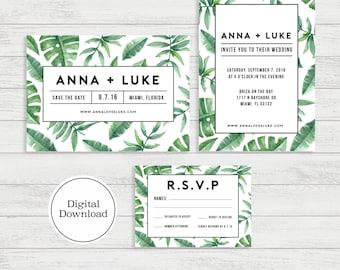 Tropical Palm Wedding Invitation Set | Digital Download, Printable File, Fully Customizable | Modern & Minimal | Adrienne133