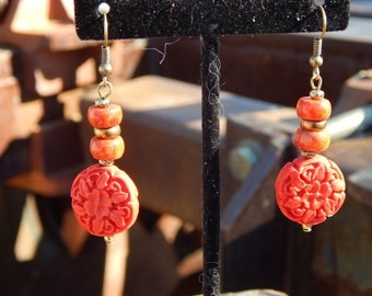 Cinnabar and Sponge Coral Earrings with Brass Accents
