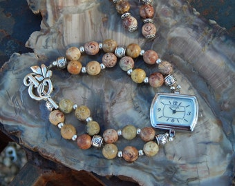 Carved Soapstone Watch and Earrings