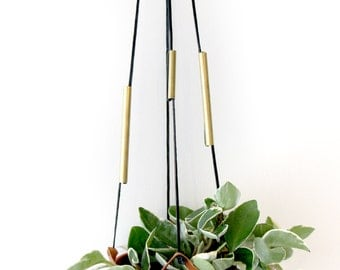 Leather Hanging Planter with Adjustable Brass & Silver Tubes
