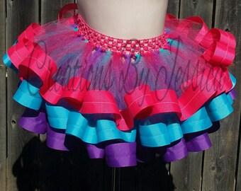 Purple,blue,and pink ribbon trim tutu....Ribbon tutu...Birthday ribbon tutu...Purple ribbon tutu...Pink ribbon tutu..Blue ribbon tutu