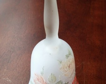 Frosted Glass Rose Bell, Viking, Hand-painted