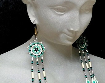 Sun and Feathers in Turquoise: Ready to wear earrings