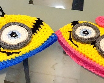 Adorable Minion Hats - Handmade Crocheted Hats in Newborn to Adults sizes