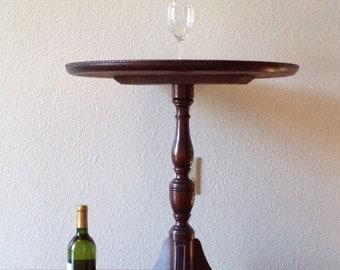 Vintage Round Hall Table, Pedestal Table, Side Table