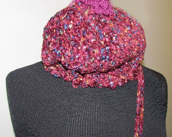 Cranberry Winter Hat with Tassel