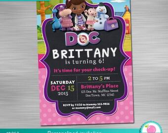 Doc Mcstuffins Invitation, Doc Mcstuffins Birthday, Doc Mcstuffins Party, Doc Mcstuffins Invite, Doc Mcstuffins Printable Invitation DIY