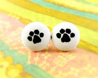 Pawprint Earrings, Doggy Paw Earrings, Fabric Earrings, Button Earrings, Studs, Post Earrings, Fabric Button Earrings, Handmade