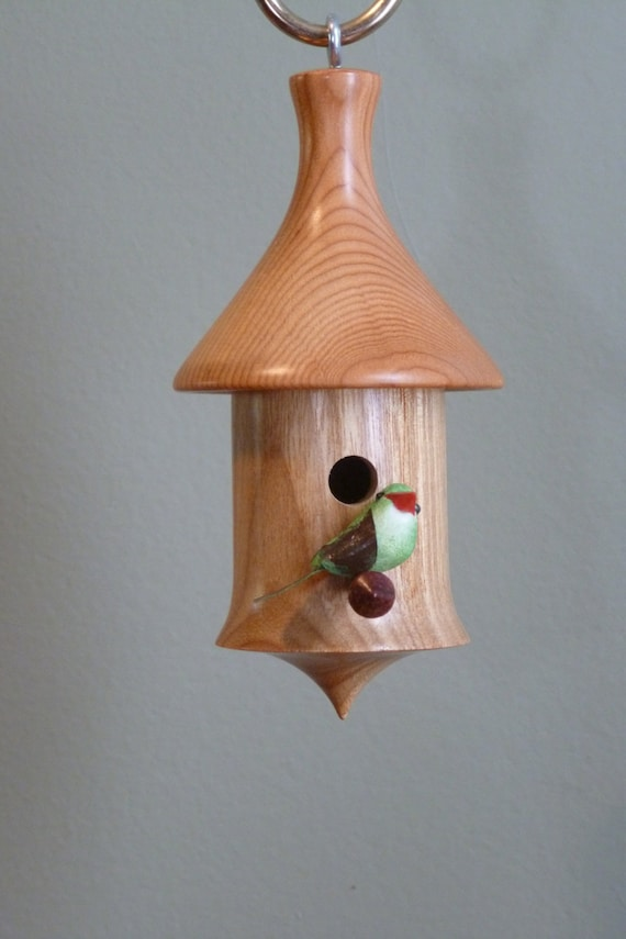 Woodturned Handmade Wooden Miniature Birdhouse Christmas