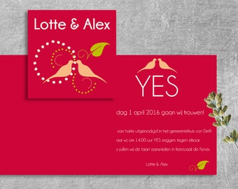 50 PCs. Love-Birds wedding invitation, Wedding Invitation, wedding comes with envelopes. 135x135mm