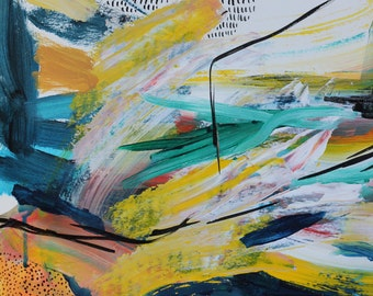 Original Abstract Painting, Acrylic and Ink Mixed Media Painting, Abstract Art, Modern Art, Wall Decor