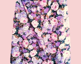 Gor Ray Vintage floral skirt with roses from the 70s- summer skirt-romantic skirt Free Shipping
