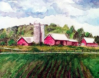 The Farm Life  (Reproduced Print of Original Painting, Somerset Velvet Giclee)