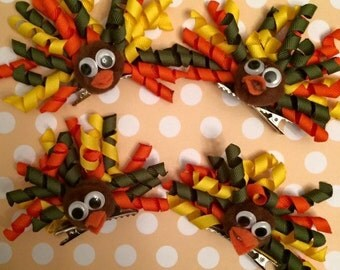 Thanksgiving Turkey Hair Clip Hair Bow