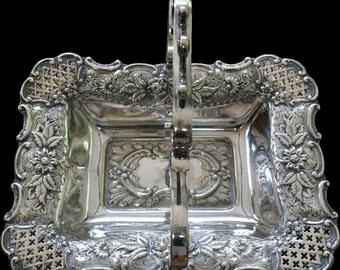 Beautiful Vintage Silver Plate Wedding Basket