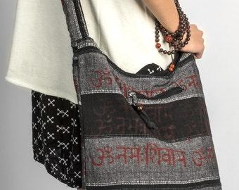 Black Hobo Bag, Shoulder Bag, Hippie Bag, Gypsy Bag, Bohemian Bag, Beach Bag, Cotton Bag, Black Bag, Crossbody Bag