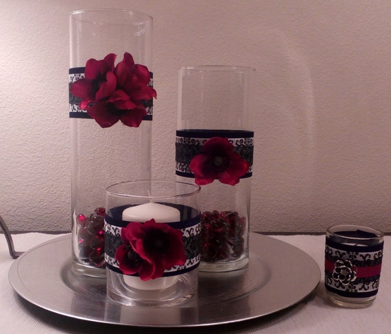 Black damask and red vase centerpiece by poshpenguincreations
