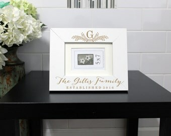 Personalized Picture Frame, Custom Picture Frame, Personalized Photo Frame, Custom Photo Frame, Wedding Gifts --PF-WHT-The Gillis Family