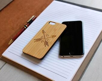 Personalized Iphone 6 case, Custom Iphone 6 case, Wood Iphone 6 case, Laser Engraved Iphone 6 case, Bamboo Iphone 6 --IP6-BAM-c&c arrows