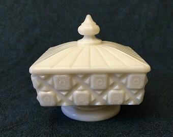 Vintage Westmoreland Old Quilt Milk Glass Pedestal Compote with Lid, Wedding Milk Glass