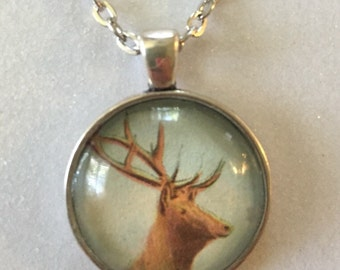 Elk deer pendant necklace - Vintage postcard