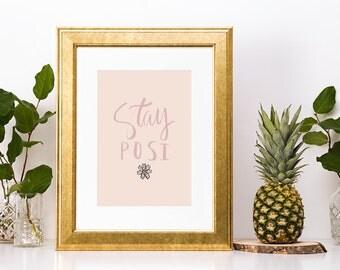Stay Posi Illustration Calligraphy Boho Art Print