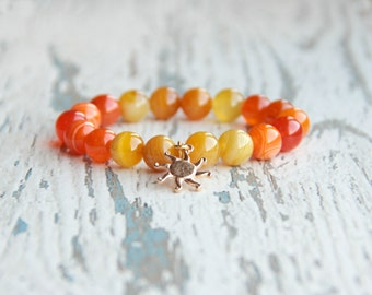 sun bracelet orange bracelet yellow stretch power beaded bracelet sun charm tibetan bracelet boho jewelry agate bracelet mens gift for her