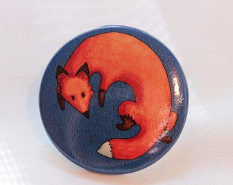 Fox - Button pin / Watercolor / Animal / Pinback button / Accessories