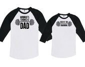 Father Daughter Matching Shirts Father Son Gift World's Strongest Dad Beast In Training Bodysuit American Apparel Unisex Raglan MAT-752-753