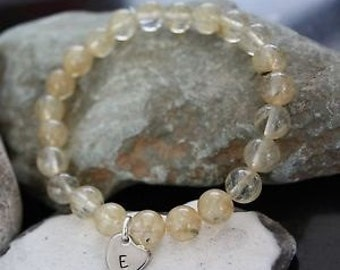 Personalised Jewellery Citrine Quartz Stretch Bracelet with Hand Stamped Initialled Heart Semi Precious Gift