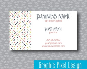 Premade Business Card, Customized Business Card Design, Pink, Navy, Mint, Green Printable File